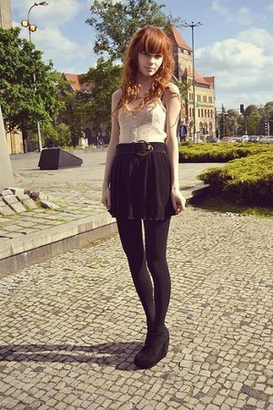 black Ebay wedges - black New Yorker skirt - neutral H&M top