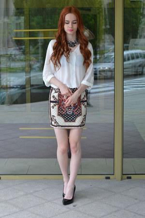 white BangGood shirt - black BangGood skirt