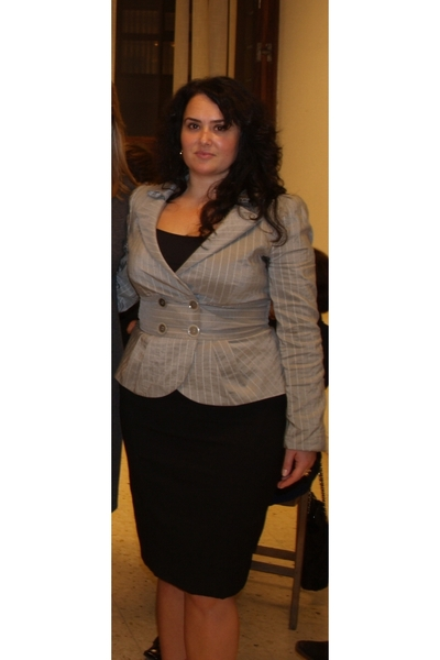 gray Giorgio Armani jacket - black ADRIANA SALAZAR skirt - black Le Silla shoes