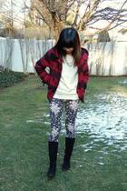 black floral Charlotte Russe leggings - black lauren ralph lauren boots