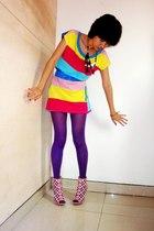 colourful top - chandelier necklace - GoJane shoes - belt