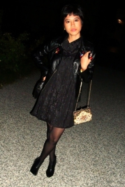 faux leather jacket - shimmery dress - Vintage bag - ankle boots