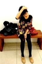 grandmas dress - black tights - ebay jazz shoes - red bag