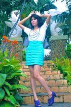 white iconia shirt - iconia skirt - purple Mitchybelle shoes