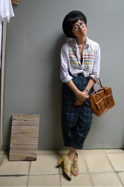 bowler Insight hat - Topshop bag - custom-made peep-toe heels - vintage pants -