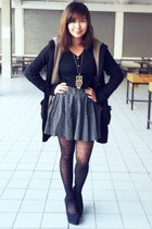 blouse - polka dot skirt - wool cardigan - polka dot stockings - wedges heels -