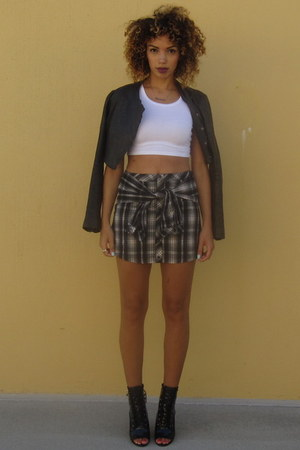 Forever 21 top - ami clubwear boots - Line Knitwear jacket - Cici Hot skirt