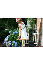 white vintage dress - tawny Kookai belt - tawny Steve Madden shoes