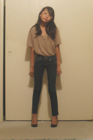 brown Armani Exchange shirt - blue my mom pants - pink random boutique accessori