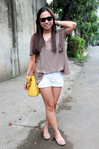thrifted top - bkk bag - Metro shorts - Penshoppe flats