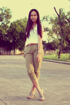 tan Payless shoes - dark khaki wwwshopyapicom pants - tawny sm dept store belt -