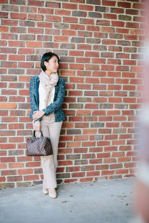 peplum tweed JCrew jacket - H&M scarf - Louis Vuitton bag