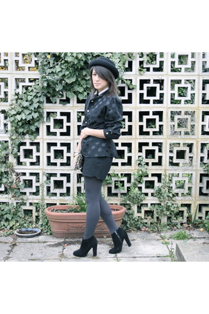 The GladRags jacket - ankle boots new look boots - felt bowler hat Topshop hat