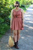 vintage boots - Urban Outfitters dress - cotton on dress