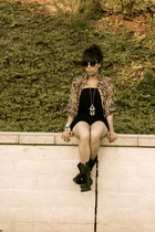 black trouve boots - BP sunglasses - brown blouse - silver long tribal Forever 2