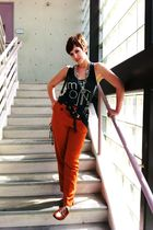 black truly madly deeply top - orange unknown brand pants - brown thrifted shoes