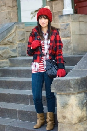 red Forever 21 jacket - red Gap shirt - red Gap t-shirt - blue Express jeans - b