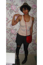 For Love 21 hat - Topshop top - lark & wolff shorts - tights - purse - vintage s