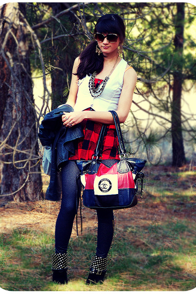 white vest - red Wet Seal top - blue leggings - black boots - red Chanel purse -