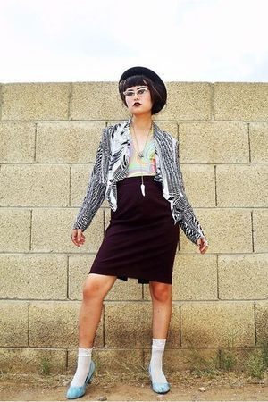 black Forever 21 hat - white blazer - green top - vintage skirt - white socks -