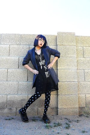 black vintage oxford doc martens shoes - black mesh printed evil twin dress - ch