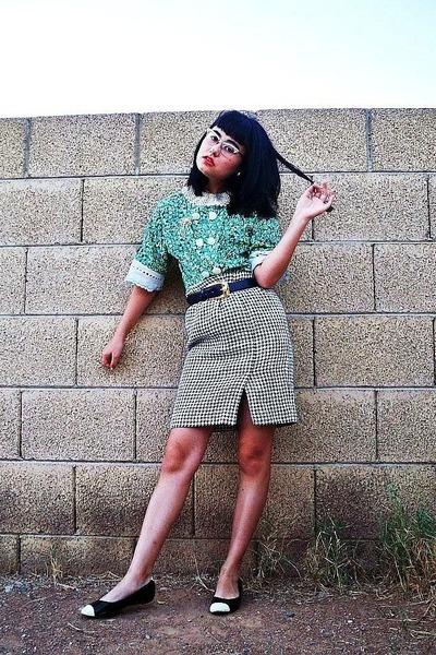 green vintage handmade blouse - white thrifted skirt - blue Anne Klein belt - bl