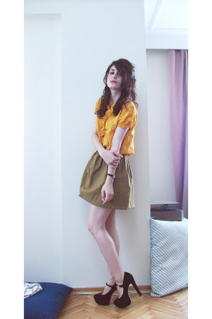 camel diy vintage skirt - gold linen a local store blouse