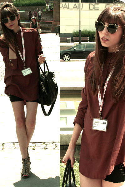 crimson silk Zara shirt - black leather Friis&Co bag - black diy Zara shorts - l