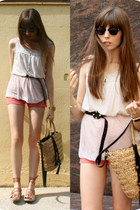 tan straw Zara bag - coral coral denim American Apparel shorts - black sunglasse