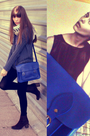 blue satchel satchel bag - brown leather Jeffrey Campbell boots