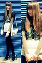beige camel BLANCO bag - black cashmere Calzedonia tights