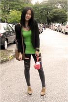 green banana republic top - gray Miss OCD leggings - black Miss OCD blazer - bro