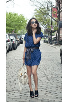 blue Yumi Kim dress - ivory dearskin MiuMiu bag - black satin calvin klein heels