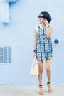Blue-scarf-printed-misspouty-dress-ivory-black-martine-sitbon-bag