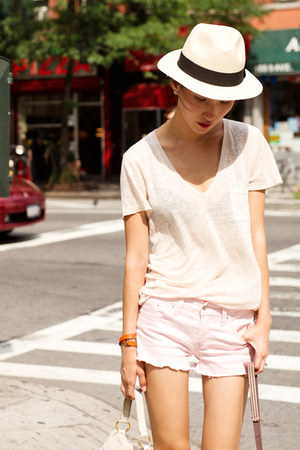 light pink raw hem misspouty shorts - neutral v neck JCrew t-shirt