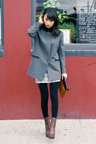 brown asymmetric toe lanvin boots - gray misspouty jacket - camel Khlees bag