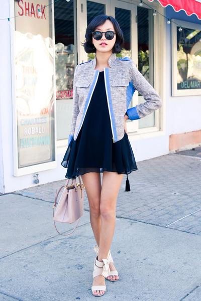 heather gray misspouty blazer - black misspouty dress - light pink Prada bag