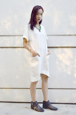 white white dress OASAP dress - leather Zara boots