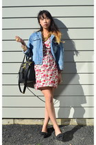 pink floral Singapore dress - black loafers Rubi shoes shoes - sisters jacket