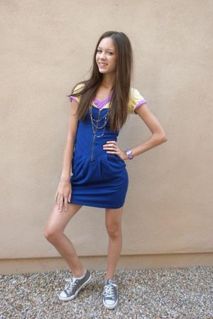blue pitaya dress - yellow Gap t-shirt - purple PacSun t-shirt - gray Converse s