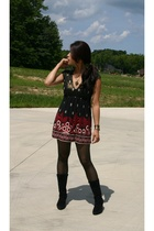 unknown brand dress - white mt boots - unknown brand tights