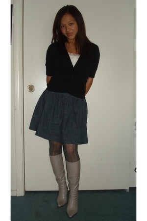 black Forever 21 cardigan - white Forever 21 top - blue Forever 21 skirt - gray
