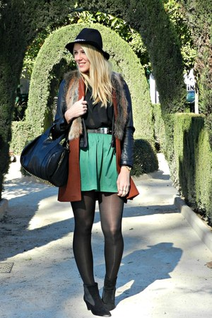 green Zara skirt - black H&amp;M shirt - ruby red Zara vest
