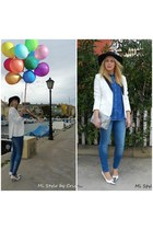 blue suiteblanco jeans - black Primark hat - white H&M blazer