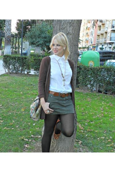 white Zara shirt - olive green pull&bear skirt - bronze Mar Bcn necklace