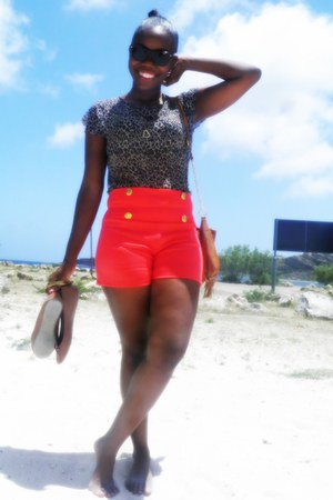 coral shorts - pink leggings - brown blouse - black blouse