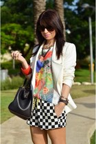 white double breast Zara blazer - dark gray check Zara shorts