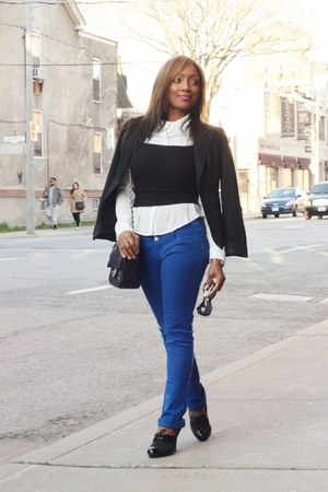 Forever 21 crop top - le chateau shoes - Suzy Shier blazer - Forever 21 shirt