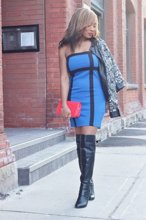 Forever 21 dress - Call it Spring boots - Forever 21 jacket - Chanel purse