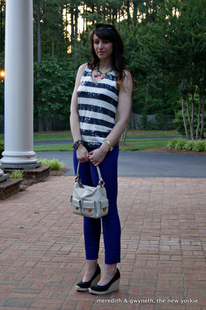 pave chain link J Crew bracelet - Marc Jacobs bag - minnie cropped J Crew pants